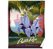 Discover Puerto Rico U.S.A. Vintage Travel Poster Poster