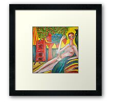 Lady in the Sunroom. Framed Print
