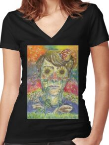 """""""All You Do Is Sit Inside"""" Women's Fitted V-Neck T-Shirt"""