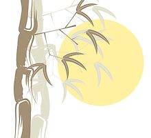 Oriental Yellow Sunrise Bamboo Zen by fatfatin