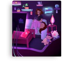 Cat girl playing video game Canvas Print