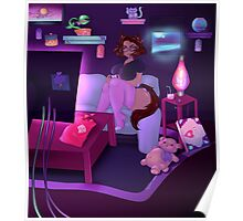 Cat girl playing video game Poster