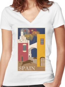 Spain Vintage Travel Poster Women's Fitted V-Neck T-Shirt