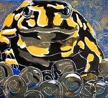 Precious - A Corroboree Frog Guarding Eggs by Heather Holland by Heatherian