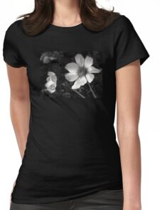 black and white flowers Womens Fitted T-Shirt