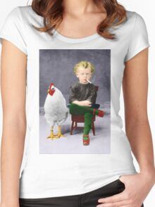 Smoking Child - Recolored Version Women's Fitted Scoop T-Shirt