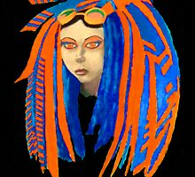 Cybergoth Girl in Contrasting Blue and Orange by ApocalypsPirate