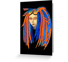 Cybergoth Girl in Contrasting Blue and Orange Greeting Card