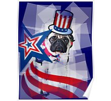 Puggy 4th of July Poster