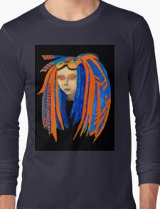 Cybergoth Girl in Contrasting Blue and Orange Long Sleeve T-Shirt
