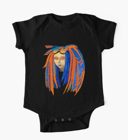 Cybergoth Girl in Contrasting Blue and Orange One Piece - Short Sleeve