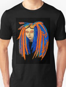 Cybergoth Girl in Contrasting Blue and Orange T-Shirt