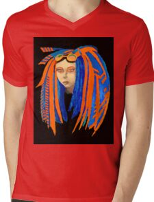 Cybergoth Girl in Contrasting Blue and Orange Mens V-Neck T-Shirt