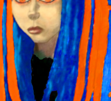 Cybergoth Girl in Contrasting Blue and Orange Sticker