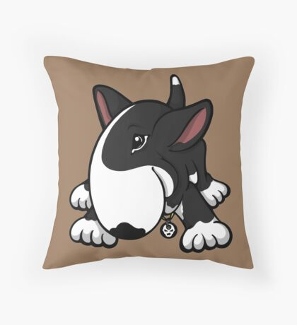 Let's Play English Bull Terrier Black  Throw Pillow