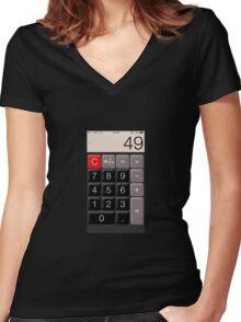 Calculator 49 Women's Fitted V-Neck T-Shirt