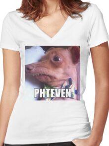 Phteven Women's Fitted V-Neck T-Shirt