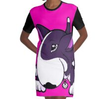 Let's Play English Bull Terrier Purple Graphic T-Shirt Dress