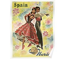 Spain Iberia Vintage Travel Poster Poster