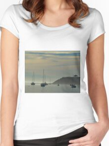 Resting Sailboats in Still Waters Women's Fitted Scoop T-Shirt
