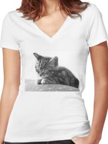 Sleeping Kitten (Clothing Products) Women's Fitted V-Neck T-Shirt
