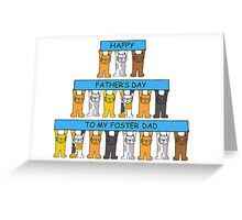Cats celebrating foster Dad on Father's Day Greeting Card