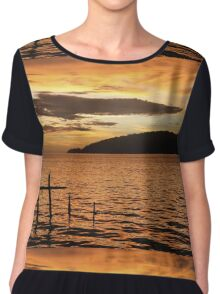 Golden Sunset with Broken Down Pier, Kota Kinabalu Chiffon Top