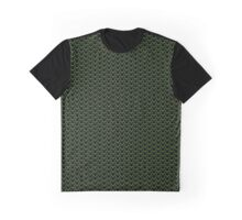Grid Punch Holes Design Lime and Black Graphic T-Shirt