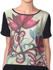 Red Flowers Chiffon Top