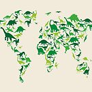 Dinosaur Map of the World Map by ArtPrints