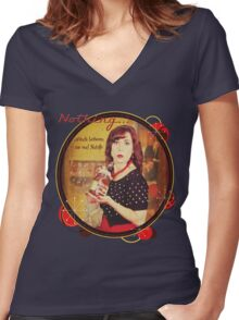 Nothing...stands between me and Nutella Women's Fitted V-Neck T-Shirt