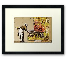 Banksy blue collar Framed Print