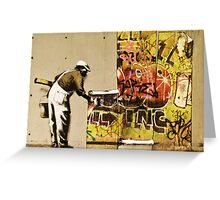 Banksy blue collar Greeting Card