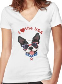 Love the USA Women's Fitted V-Neck T-Shirt