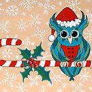 Candy Cane Owl by Lisa Frances Judd~QuirkyHappyArt
