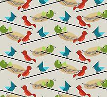 Mid Century Birds  by thepixelgarden