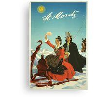 St. Moritz Switzerland Vintage Travel Poster Canvas Print