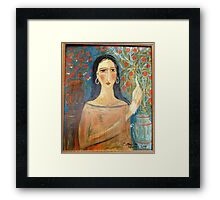 """ Lady with clay jars"" Framed Print"