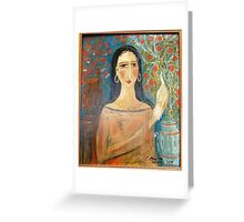 """"""" Lady with clay jars"""" Greeting Card"""