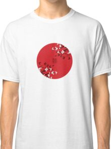 White Sakura Cherry Blossoms on Red and Chinese Wedding Double Happiness Classic T-Shirt