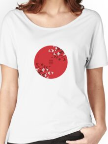 White Sakura Cherry Blossoms on Red and Chinese Wedding Double Happiness Women's Relaxed Fit T-Shirt