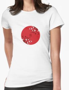 White Sakura Cherry Blossoms on Red and Chinese Wedding Double Happiness Womens Fitted T-Shirt