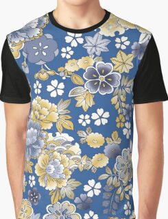 Blue Orange Vintage Floral Japanese Kimono Graphic T-Shirt