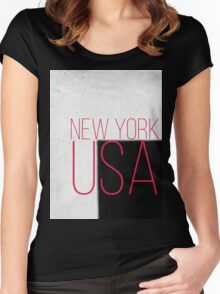 NEW YORK USA Women's Fitted Scoop T-Shirt