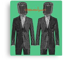 Twin Grey Scale Talking Mikes Canvas Print