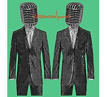 Twin Grey Scale Talking Mikes Photographic Print