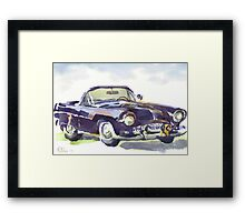 1955 Ford Thunderbird in Watercolor Framed Print
