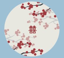Chinese Wedding Double Happiness Symbol And Red Cherry Blossoms Sakura On Ivory One Piece - Short Sleeve
