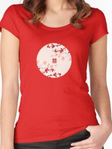 Chinese Wedding Double Happiness Symbol And Red Cherry Blossoms Sakura On Ivory Women's Fitted Scoop T-Shirt