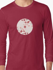 Chinese Wedding Double Happiness Symbol And Red Cherry Blossoms Sakura On Ivory Long Sleeve T-Shirt
